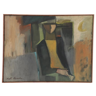 "Walter Stomps Abstract Oil Painting ""Nughardt,"" 1958"