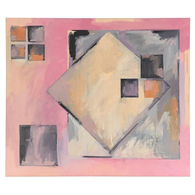 Walter Stomps Monumental Geometric Abstract Acrylic Painting, Late 20th Century