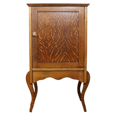 Victorian Quartersawn Oak Music Cabinet, Early 20th Century