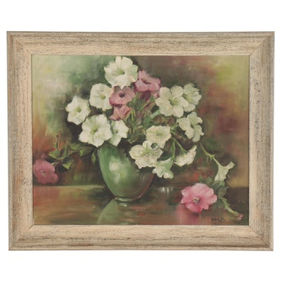 M.M.W. Downes Still Life Oil Painting of Flowers, Late 20th Century