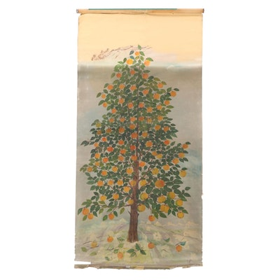 Oil Painting Mounted on Scroll of Tree, Mid-20th Century