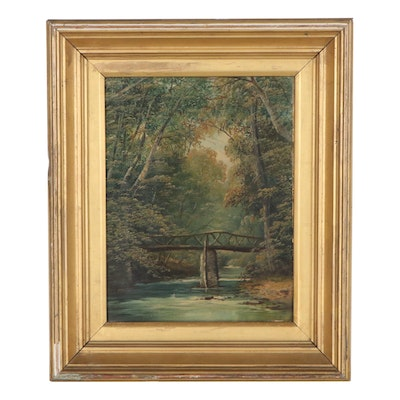 Forest Interior Oil Painting, Mid-20th Century