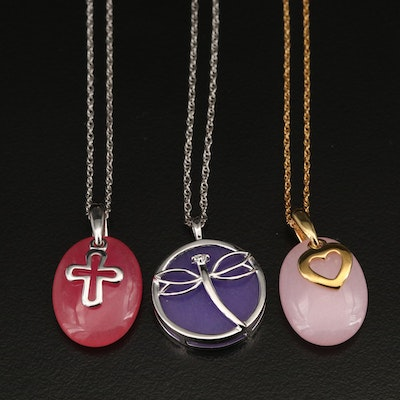 Sterling Quartzite and Diamond Necklaces with Heart, Dragonfly and Cross