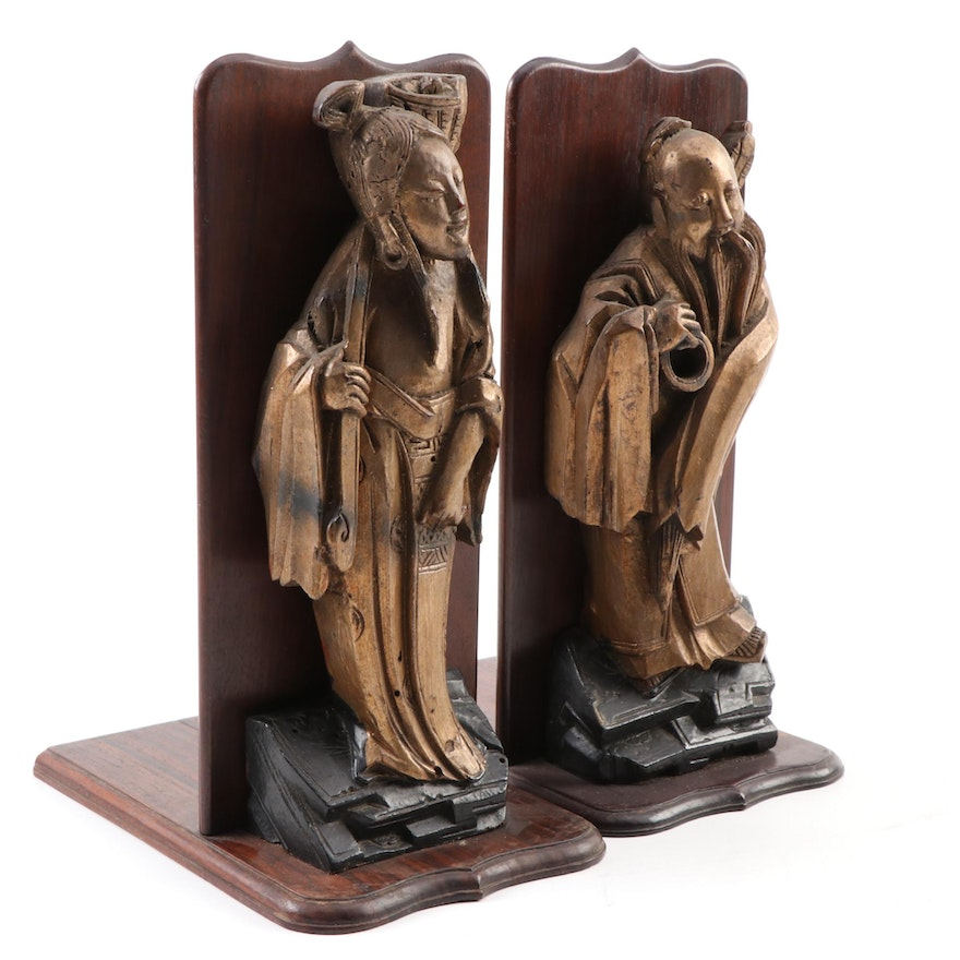 Chinese Style Figural Carved Wooden Bookends of Shou Xing and Guan Yin
