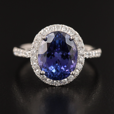 Platinum 4.13 CT Tanzanite and Diamond Ring