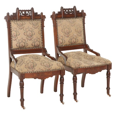 Pair of Victorian, Eastlake Style Walnut and Burl Walnut Side Chairs