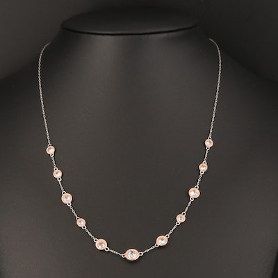 Elle Sterling Cubic Zirconia Station Necklace with Box