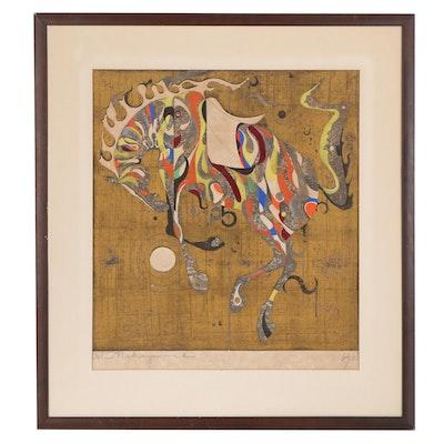 Tadashi Nakayama Woodblock of Horse, 1967