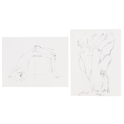 John Tuska Figural Nude Ink Drawings, Mid-20th Century