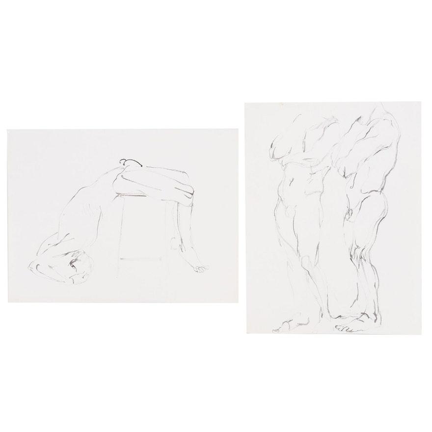 John Tuska Figural Nude Ink Drawings, Mid-20th Century
