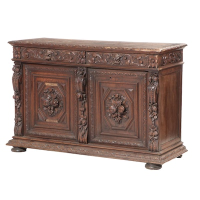 French Henri II Style Carved Oak Buffet, Late 19th Century