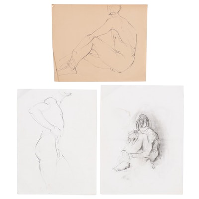 John Tuska Nude Figure Study Charcoal Drawings