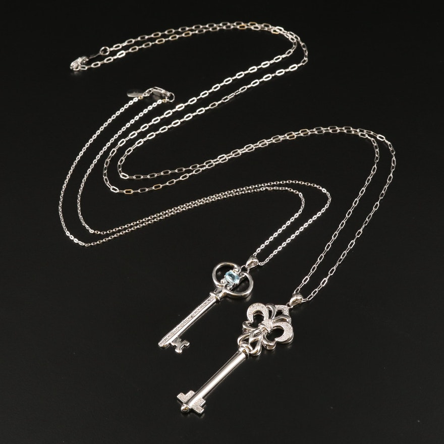 Sterling Topaz and Diamond Key Pendant Necklaces