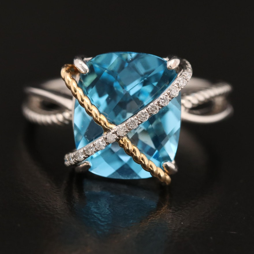 EFFY Sterling Topaz Ring with 18K Accent
