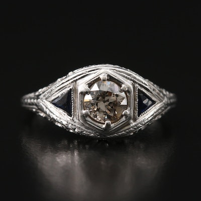 Victorian 18K Diamond and Sapphire Ring