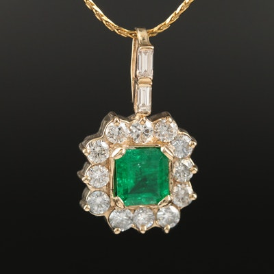 14K 1.30 CT Emerald and 1.36 CTW Diamond Necklace