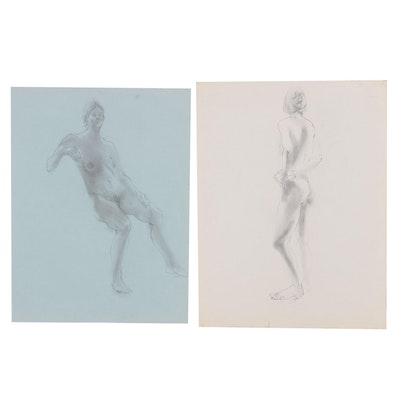 John Tuska Figural Nude Study Graphite Drawings, Mid to Late 20th Century