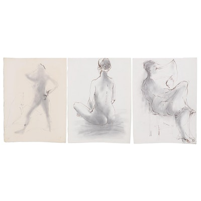 John Tuska Figural Ink and Graphite Drawings,  Late 20th Century