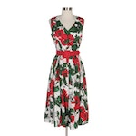 J. Peterman Floral Print Sleeveless Casual Dress with Red Belt