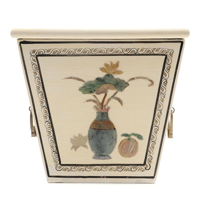 Asian Style Planter with Floral Motif, Metal Interior with Wooden Exterior