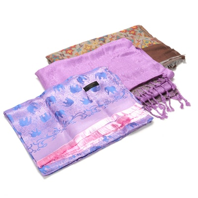 Thai Silk, Paisley Pashmina Style, and Floral Motif Scarves