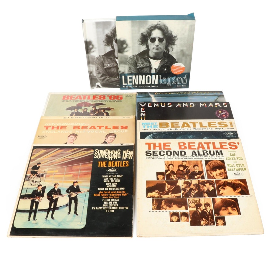 The Beatles and Wings Vinyl Record Albums and An Illustrated Life of John Lennon