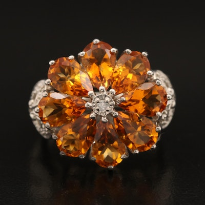 Sterling Citrine and Diamond Flower and Heart Ring