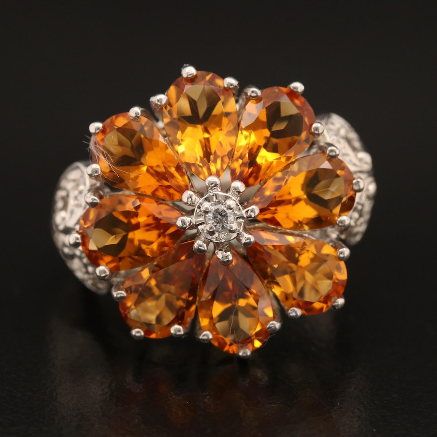 Sterling Silver Citrine and Diamond Flower and Heart Ring