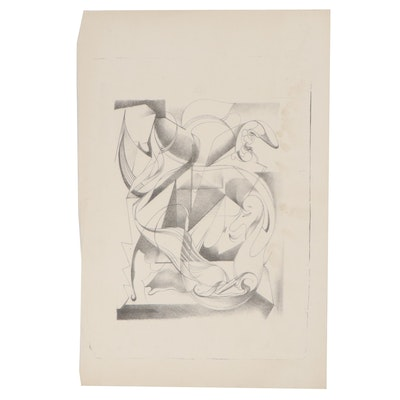 Arthur Helwig Abstract Lithograph, Mid-20th Century