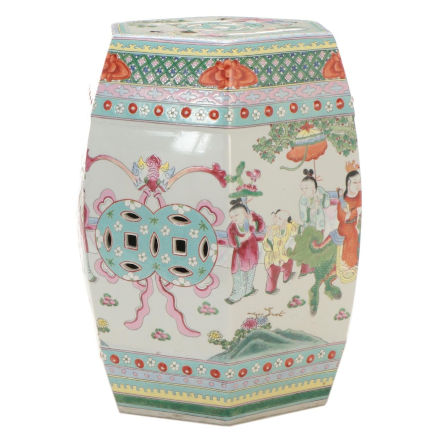 Chinese Enameled Ceramic Stool with Garden Scenes