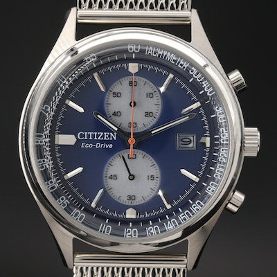 "Citizen Eco-Drive ""Chandler"" Chronograph Stainless Steel Quartz Wristwatch"