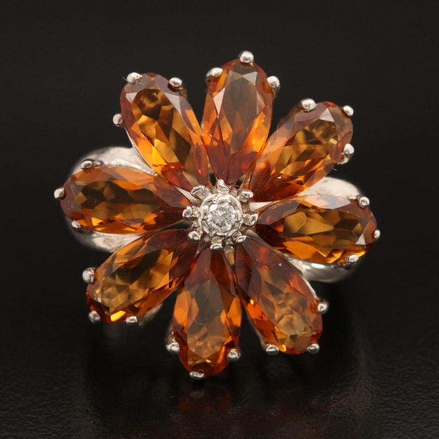 Sterling Citrine and Diamond Flower Ring