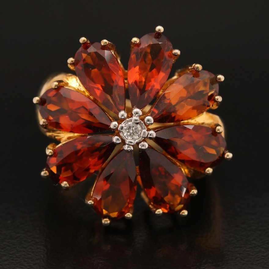 Sterling Citrine and Diamond Flower Ring