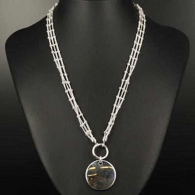 Fine Silver Disk Pendant Multi-Strand Necklace