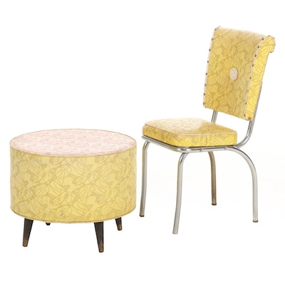 Mid Century Modern Vinyl Upholstered Chair and Ottoman, 1960s