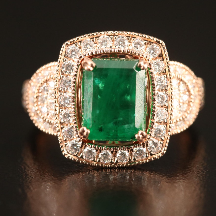 14K Rose Gold 2.70 CT Emerald and Diamond Ring