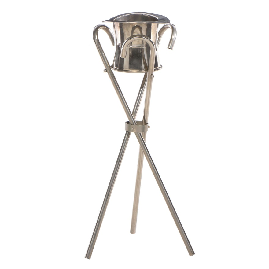 Silver Plate Magic Top Hat Champagne Ice Bucket on Cane-Form Stand