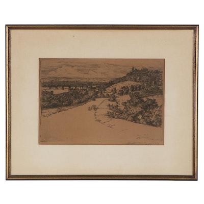 Edward T. Hurley Etching of Townscape, 1923