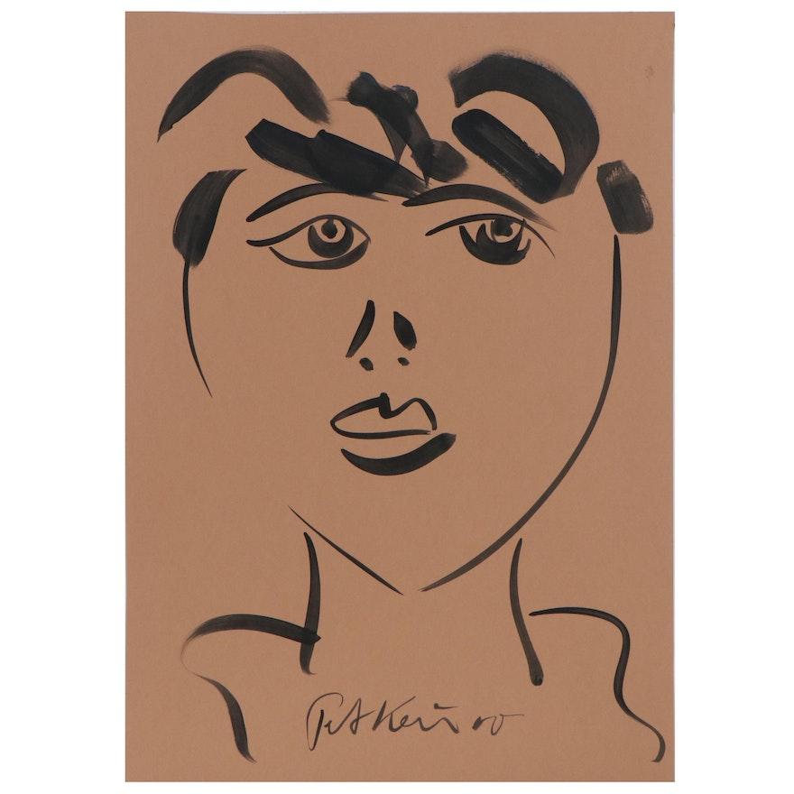 Peter Keil Abstract Acrylic Portrait, 21st Century