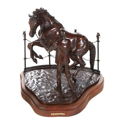 "Jan Woods Bronze Sculpture ""Buck at the Sale,"" 1988"