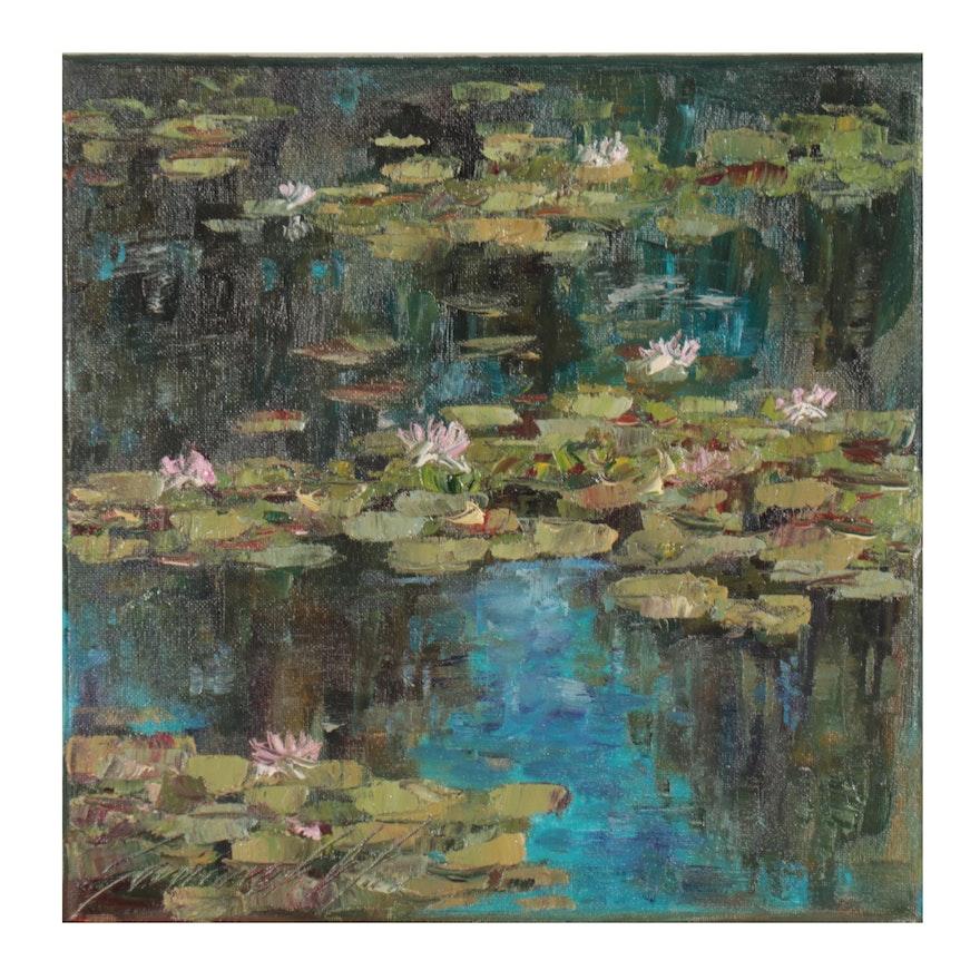 """Garncarek Aleksander Oil Painting """"Waterlilies,"""" 2021"""