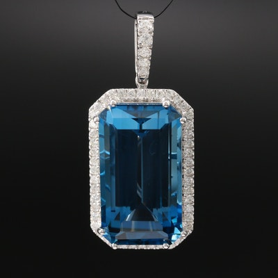 14K 36.44 CT London Blue Topaz and Diamond Pendant