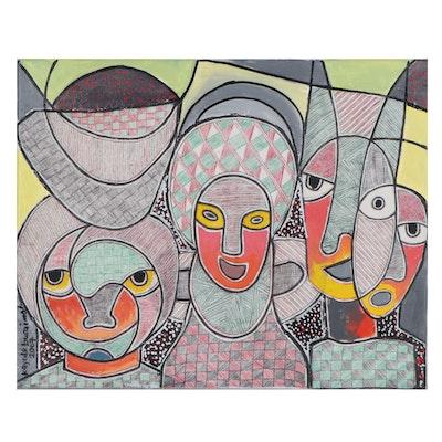"Kayode Buraimoh Mixed Media Painting ""Strong Family,"" 2007"