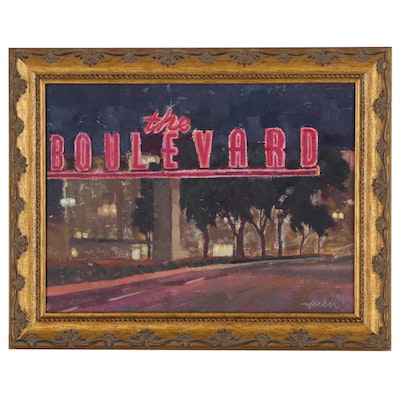 Kevin Yuen Oil Painting of The Boulevard, 21st Century