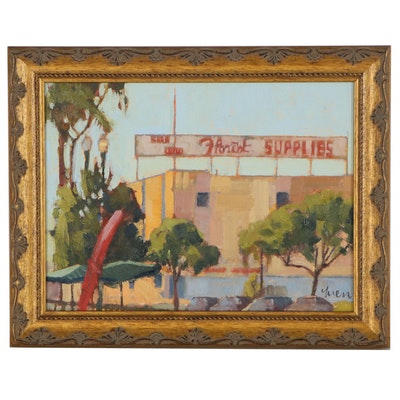 "Kevin Yuen Oil Painting ""San Diego Florist Supplies, North Park, S.D."" 2020"