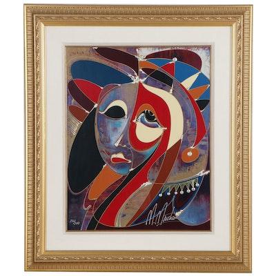 """Martiros Manoukian Hand-Embellished Serigraph """"Introspection,"""" circa 2000"""