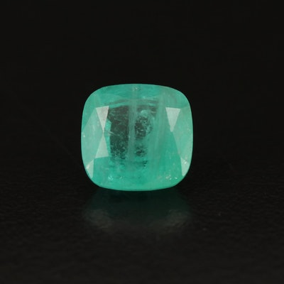 Loose 3.42 CT Cushion Faceted Emerald with GIA Report