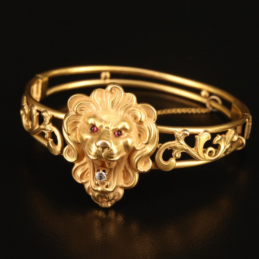 Antique 10K Sapphire and Glass Hinged Lion Bangle with Scroll Pattern