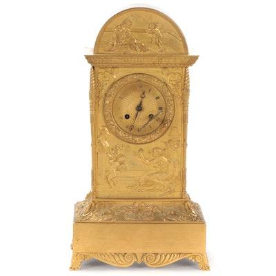 French Empire Gilt Brass Shelf Clock, 19th Century