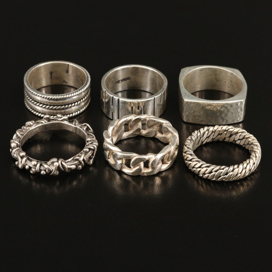 Sterling Textured Stackable Bands